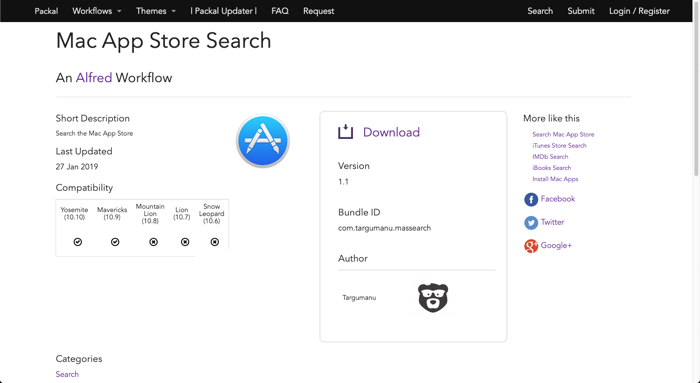 AlfredでApp Storeを素早くサーチ。ワークフロー【Mac App Store Search